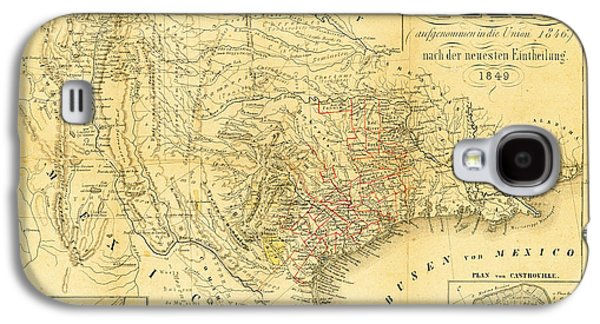 1849 Texas Map Galaxy S4 Case by Bill Cannon