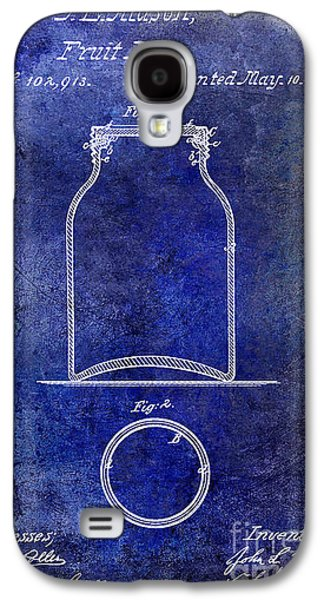 Mason Jars Galaxy S4 Cases - 1870 Mason Jar Patent Blue Galaxy S4 Case by Jon Neidert