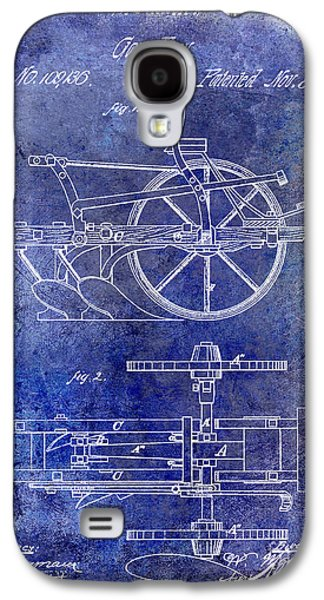 Plow Galaxy S4 Cases - 1870 Plow Patent Blue Galaxy S4 Case by Jon Neidert