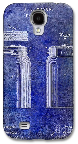 Mason Jars Galaxy S4 Cases - 1873 Mason Jar Patent Blue Galaxy S4 Case by Jon Neidert