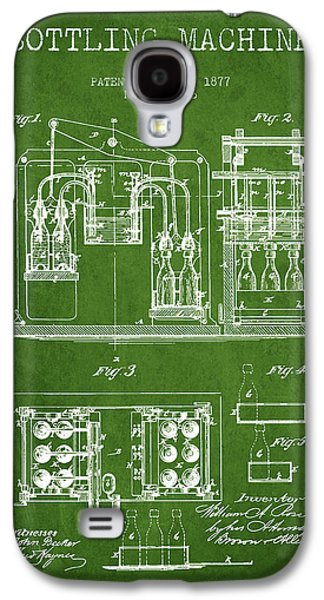 Food And Beverage Drawings Galaxy S4 Cases - 1877 Bottling Machine patent - Green Galaxy S4 Case by Aged Pixel