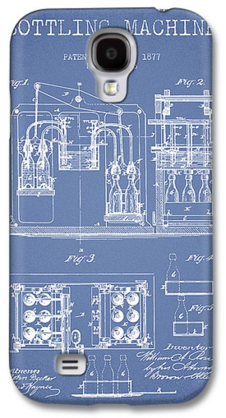 Food And Beverage Drawings Galaxy S4 Cases - 1877 Bottling Machine patent - Light Blue Galaxy S4 Case by Aged Pixel