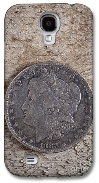 Coins Photographs Galaxy S4 Cases - 1883 Morgan Silver Dollar Galaxy S4 Case by Edward Fielding