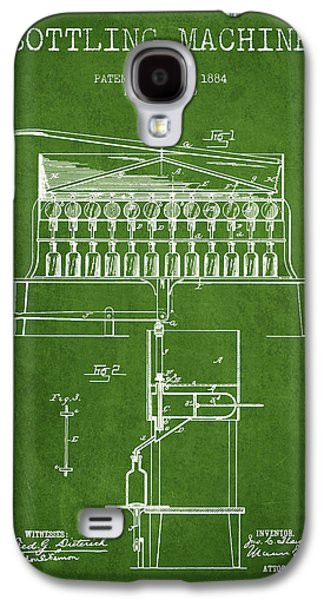 Food And Beverage Drawings Galaxy S4 Cases - 1884 Bottling Machine patent - green Galaxy S4 Case by Aged Pixel