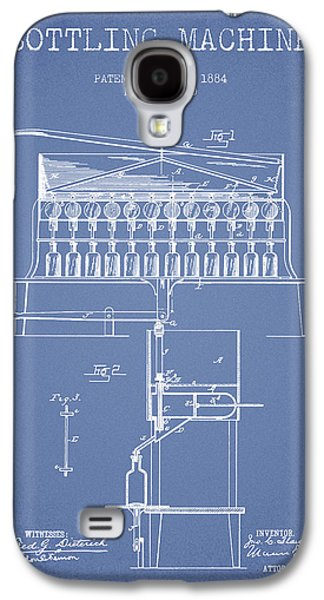 Food And Beverage Drawings Galaxy S4 Cases - 1884 Bottling Machine patent - light blue Galaxy S4 Case by Aged Pixel