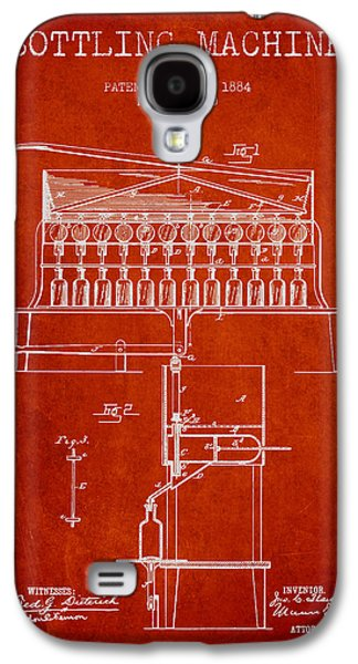 Food And Beverage Drawings Galaxy S4 Cases - 1884 Bottling Machine patent - red Galaxy S4 Case by Aged Pixel
