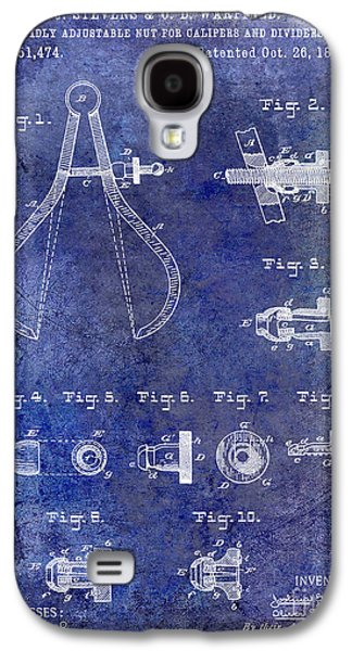 Compass Galaxy S4 Cases - 1886 Caliper and Dividers Patent Blue Galaxy S4 Case by Jon Neidert