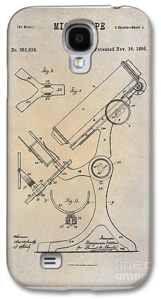 Historic Home Drawings Galaxy S4 Cases - 1886 Microscope Patent Art B.F. Allen 1 Galaxy S4 Case by Nishanth Gopinathan