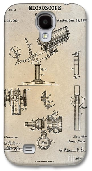 Historic Home Drawings Galaxy S4 Cases - 1886 Microscope Patent Art Fasoldt 1 Galaxy S4 Case by Nishanth Gopinathan