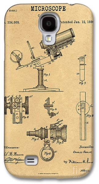 Historic Home Drawings Galaxy S4 Cases - 1886 Microscope Patent Art Fasoldt 3 Galaxy S4 Case by Nishanth Gopinathan