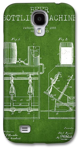 Technical Drawings Galaxy S4 Cases - 1888 Beer Bottling Machine patent - Green Galaxy S4 Case by Aged Pixel