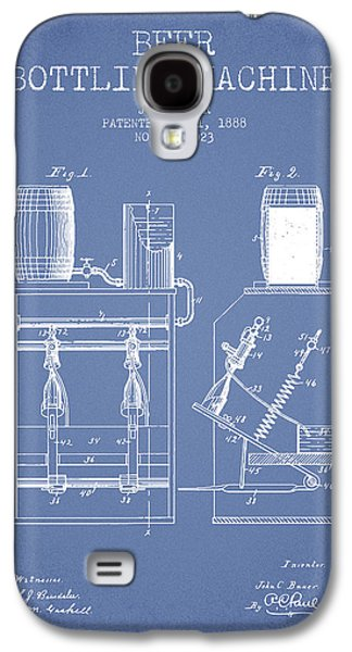 Technical Drawings Galaxy S4 Cases - 1888 Beer Bottling Machine patent - Light Blue Galaxy S4 Case by Aged Pixel