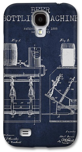 Technical Drawings Galaxy S4 Cases - 1888 Beer Bottling Machine patent - Navy Blue Galaxy S4 Case by Aged Pixel