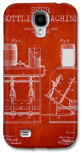 Technical Drawings Galaxy S4 Cases - 1888 Beer Bottling Machine patent - Red Galaxy S4 Case by Aged Pixel