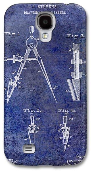 Compass Galaxy S4 Cases - 1888 Draftsmans Compass Patent Blue Galaxy S4 Case by Jon Neidert