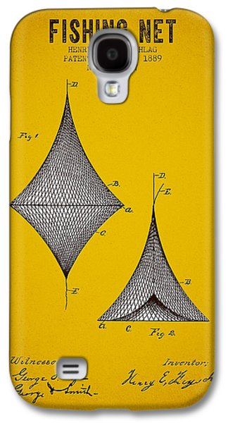 Fish Digital Art Galaxy S4 Cases - 1889 Fishing Net Patent - Yellow Brown Galaxy S4 Case by Aged Pixel