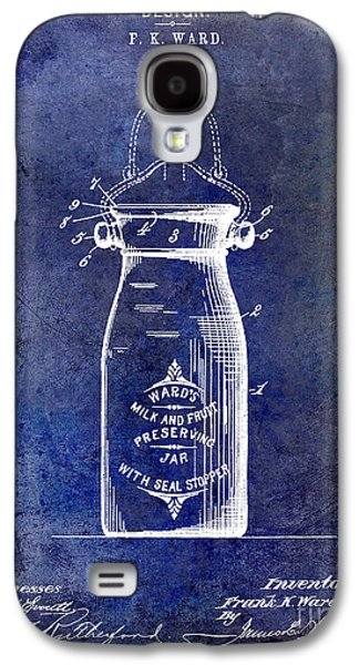 Mason Jars Galaxy S4 Cases - 1892 Jar Patent  Blue Galaxy S4 Case by Jon Neidert