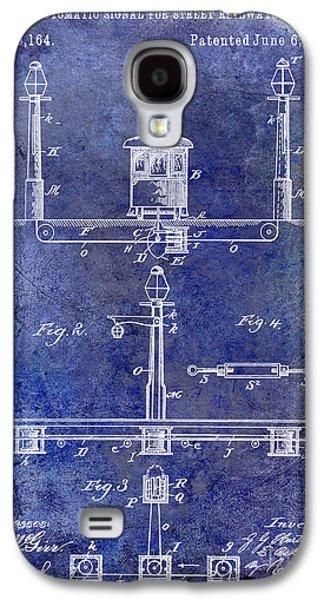 Train Photographs Galaxy S4 Cases - 1893 Street Railway Signal Patent Blue Galaxy S4 Case by Jon Neidert