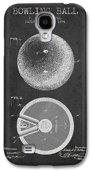 Carpet Drawings Galaxy S4 Cases - 1894 Bowling Ball Patent - Charcoal Galaxy S4 Case by Aged Pixel