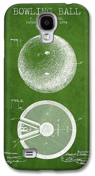 Carpet Drawings Galaxy S4 Cases - 1894 Bowling Ball Patent - Green Galaxy S4 Case by Aged Pixel