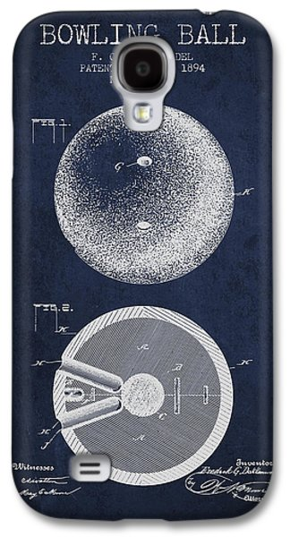 Carpet Drawings Galaxy S4 Cases - 1894 Bowling Ball Patent - Navy Blue Galaxy S4 Case by Aged Pixel