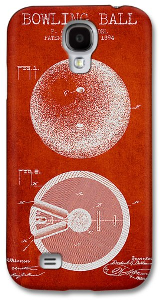 Carpet Drawings Galaxy S4 Cases - 1894 Bowling Ball Patent - Red Galaxy S4 Case by Aged Pixel
