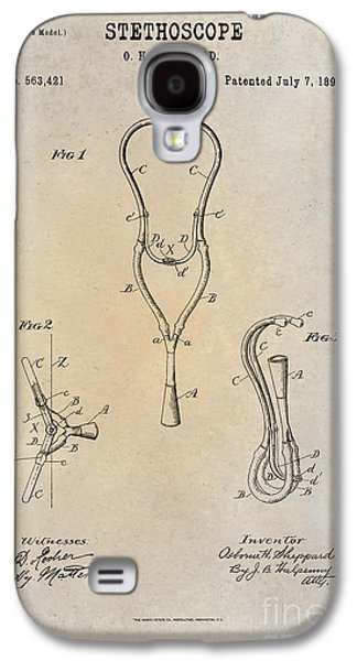 Historic Home Drawings Galaxy S4 Cases - 1896 Stethoscope Patent Art Sheppard 1 Galaxy S4 Case by Nishanth Gopinathan