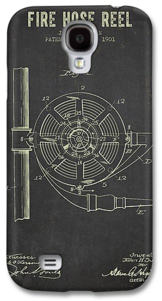 Reeling Galaxy S4 Cases - 1901 Fire Hose Reel Patent- Dark Grunge Galaxy S4 Case by Aged Pixel