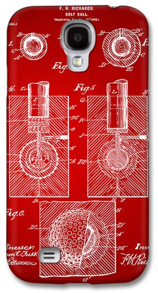 1902 Golf Ball Patent Artwork Red Galaxy S4 Case by Nikki Marie Smith