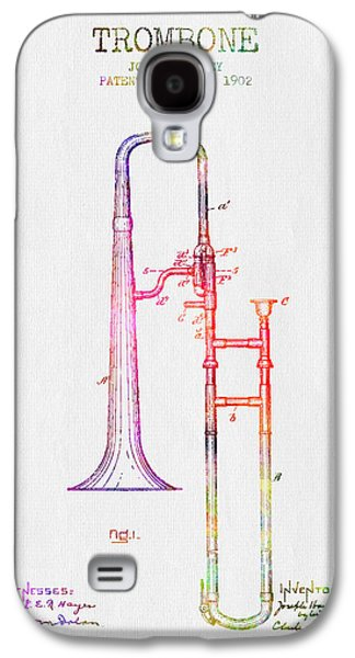 Music Drawings Galaxy S4 Cases - 1902 Trombone Patent - Color Galaxy S4 Case by Aged Pixel