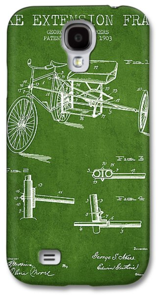 Bike Drawings Galaxy S4 Cases - 1903 Bike Extension Frame Patent - green Galaxy S4 Case by Aged Pixel