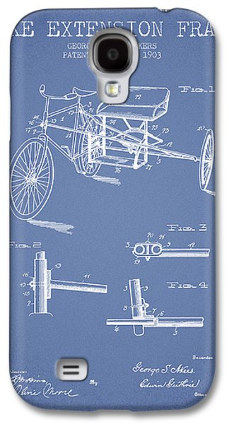 Bike Drawings Galaxy S4 Cases - 1903 Bike Extension Frame Patent - light blue Galaxy S4 Case by Aged Pixel