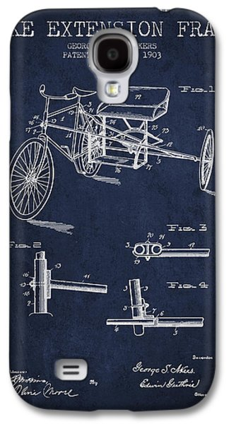 Bike Drawings Galaxy S4 Cases - 1903 Bike Extension Frame Patent - navy blue Galaxy S4 Case by Aged Pixel