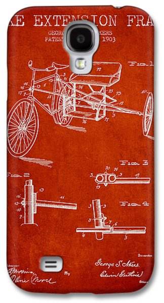 Bike Drawings Galaxy S4 Cases - 1903 Bike Extension Frame Patent - red Galaxy S4 Case by Aged Pixel