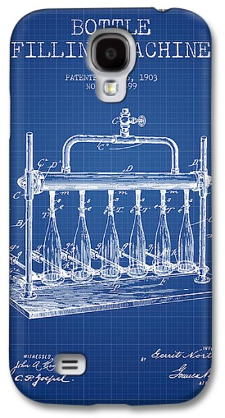 Food And Beverage Drawings Galaxy S4 Cases - 1903 Bottle Filling Machine patent - blueprint Galaxy S4 Case by Aged Pixel