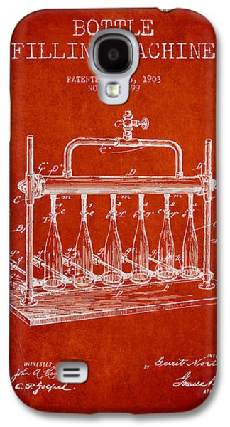 Food And Beverage Drawings Galaxy S4 Cases - 1903 Bottle Filling Machine patent - red Galaxy S4 Case by Aged Pixel