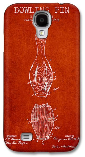 Carpet Drawings Galaxy S4 Cases - 1903 Bowling Pin Patent - Red Galaxy S4 Case by Aged Pixel