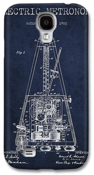 Technical Drawings Galaxy S4 Cases - 1903 Electric Metronome Patent - Navy Blue Galaxy S4 Case by Aged Pixel