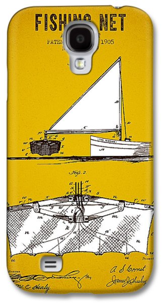 Fish Digital Art Galaxy S4 Cases - 1905 Fishing Net Patent - Yellow Brown Galaxy S4 Case by Aged Pixel