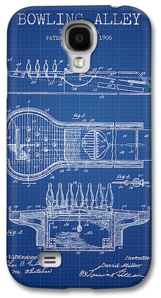 Carpet Drawings Galaxy S4 Cases - 1906 Bowling Alley Patent - Blueprint Galaxy S4 Case by Aged Pixel