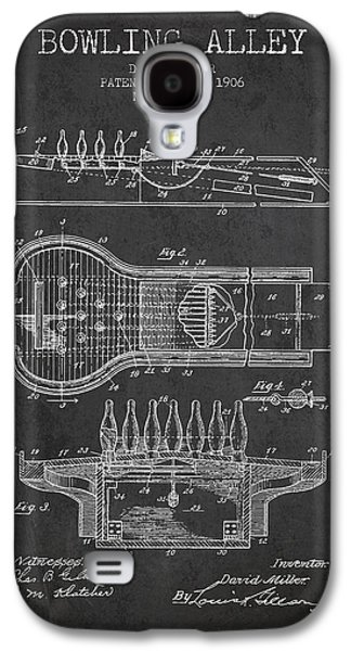 Carpet Drawings Galaxy S4 Cases - 1906 Bowling Alley Patent - charcoal Galaxy S4 Case by Aged Pixel