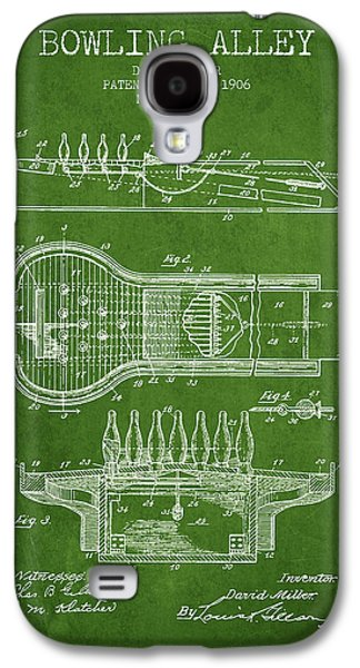 Carpet Drawings Galaxy S4 Cases - 1906 Bowling Alley Patent - Green Galaxy S4 Case by Aged Pixel