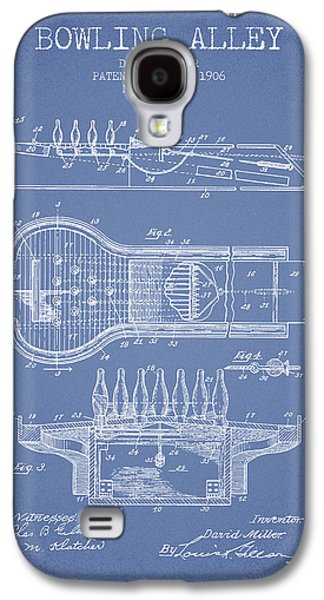 Carpet Drawings Galaxy S4 Cases - 1906 Bowling Alley Patent - Light Blue Galaxy S4 Case by Aged Pixel