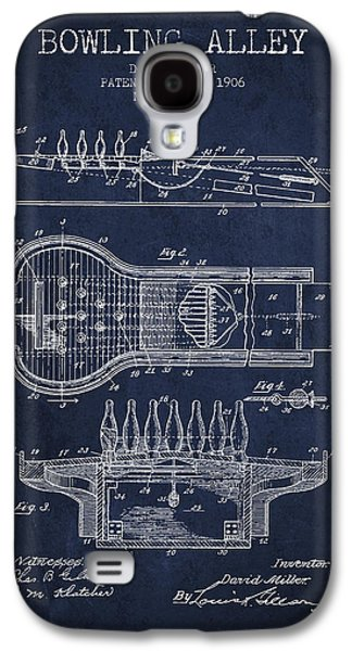 Carpet Drawings Galaxy S4 Cases - 1906 Bowling Alley Patent - Navy Blue Galaxy S4 Case by Aged Pixel