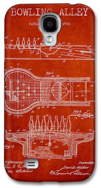 Carpet Drawings Galaxy S4 Cases - 1906 Bowling Alley Patent - red Galaxy S4 Case by Aged Pixel