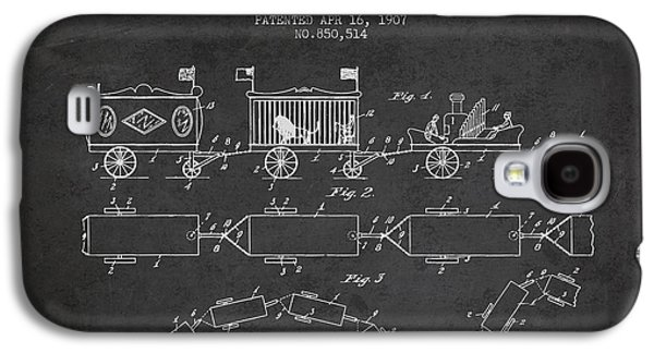 Technical Drawings Galaxy S4 Cases - 1907 Toy Train Patent - Charcoal Galaxy S4 Case by Aged Pixel
