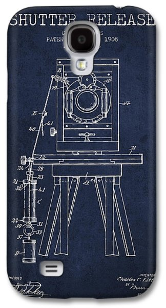 Technical Drawings Galaxy S4 Cases - 1908 Shutter Release Patent - Navy Blue Galaxy S4 Case by Aged Pixel
