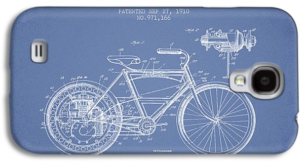 Bike Drawings Galaxy S4 Cases - 1910 Motorcycle Patent - Light Blue Galaxy S4 Case by Aged Pixel