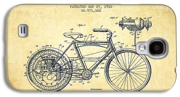 Bike Drawings Galaxy S4 Cases - 1910 Motorcycle Patent - Vintage Galaxy S4 Case by Aged Pixel