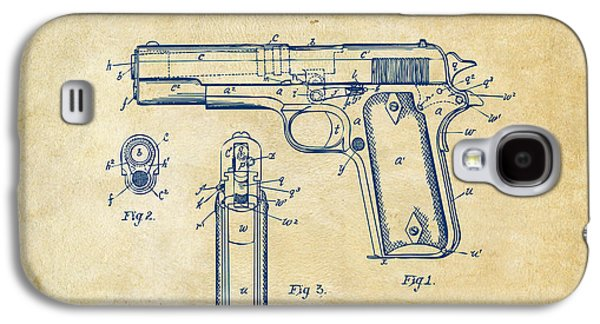 Lines Drawings Galaxy S4 Cases - 1911 Colt 45 Browning Firearm Patent Artwork Vintage Galaxy S4 Case by Nikki Marie Smith